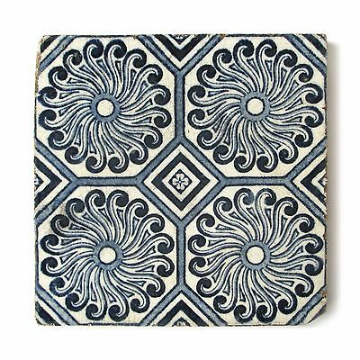 Antique Tile Victorian English Aesthetic Floral Sunflower Geometric Blue White