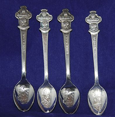 SET of 4 Rolex Bucherer of Switzerland Silver-Plated Souvenir Spoons