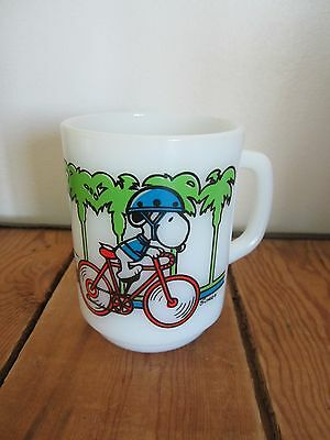 Vintage Snoopy PEDAL POWER Milk Glass MUG Cup Anchor Hocking Bicycle