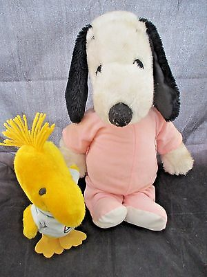 """Vintage 18"""" Plush Snoopy and 9"""" Woodstock with Outfits Peanuts"""