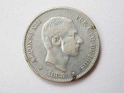 1885 Philippines 50 Centavos coin foreign (1338)