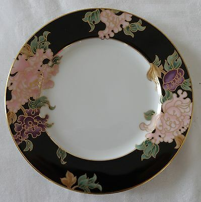 Fitz & Floyd BLACK CLOISONNE PEONY Lot of 4 Salad or Dessert Plates