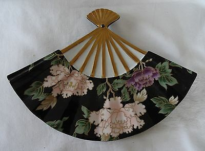 Fitz & Floyd BLACK CLOISONNE PEONY Fan Shaped Dish serving piece