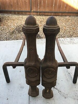 Beautiful Pair Of Vintage Cast Iron Fireplace Andirons Retro Victorian
