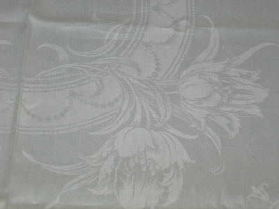 Antique IRISH Linen Damask Tablecloth~Art Deco Stylized Tulips~12 Napkins-Bridal