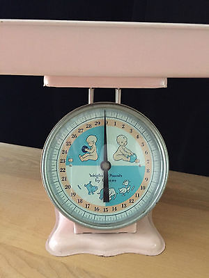 Vintage American Family Baby Nursery Scale Blue and Pink Good Condition