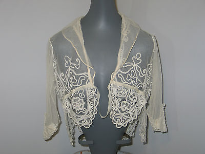 Gorgeous Antique Vintage Delicate Hand Made Lace Bertha Capelet-Cape-Shawl