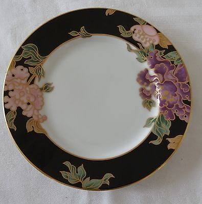 Fitz & Floyd BLACK CLOISONNE PEONY Lot of 2 Bread & Butter Side Plates