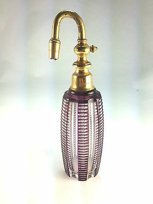 ANTIQUE Art Deco Made In France  Baccarat Cut  Glass Atomizer Perfume Bottle
