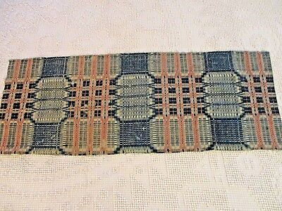 1800's Antique Woven  Pink &  Indigo Blue Coverlet  Piece 13 by  34.5""