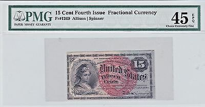 15 Cent Fractional Currency *Fourth Issue* FR#1269 PMG 45 EPQ