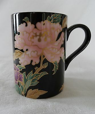 Fitz & Floyd BLACK CLOISONNE PEONY Lot of 4 Coffee Mugs