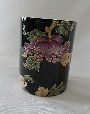 Fitz & Floyd BLACK CLOISONNE PEONY Lot of 5  Tumblers  rare pieces