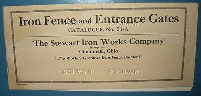 EARLY 1900s IRON FENCE AND GATE CATALOG STEWART IRON WORKS CINCINNATI WROUGHT OH