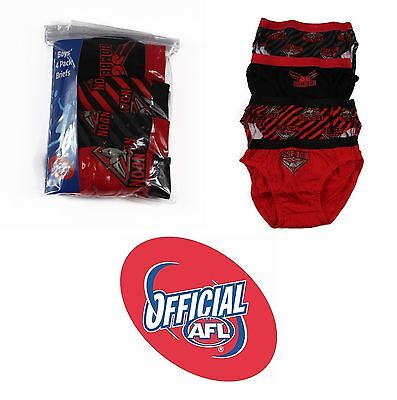 4 PACK  x BOYS ESSENDON BOMBERS OFFICIAL AFL BRIEFS Kids Underwear Jocks Undies