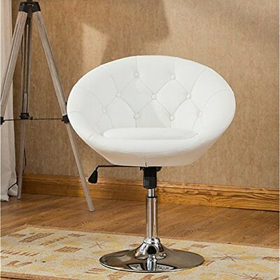 Roundhill Furniture Noas Contemporary Round Tufted Back Tilt Swivel Accent White