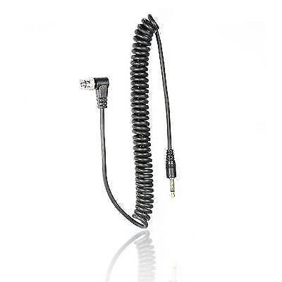 Foto&Tech 3.5 mm to Male Flash PC Sync Cable 14-Inch Coiled Cord with Screw Lock