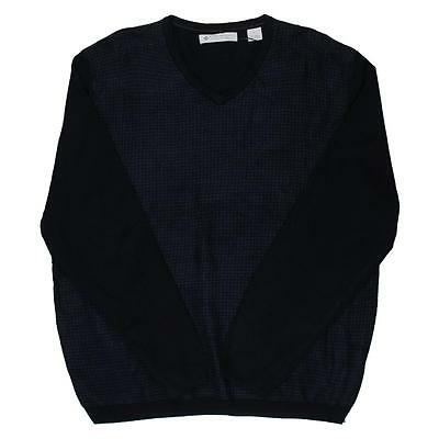 Ryan Seacrest 9155 Mens Navy Colorblock V-Neck Pullover Sweater Shirt S BHFO