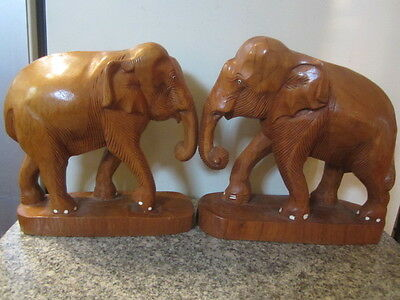 2 ANTIQUE Large ELEPHANTs  Heavy Carved Wood