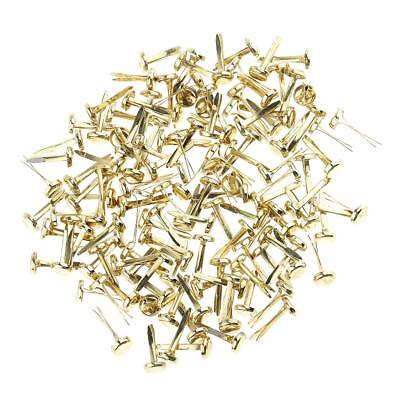 200x Mini Gold Iron Brad Paper Fastener Decorative Brads Scrapbooking Crafts