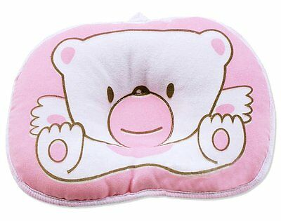 Cartoon Bear Newborn Baby Girl Anti-roll Pillow Flat Head Sleeping Position Pink