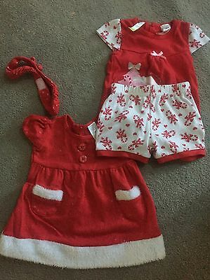 Baby Girls Christmas Clothes Dress Outfit X2 Size 0