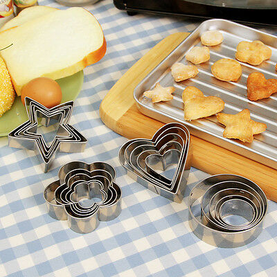 5pcs Round Flower Heart Pasty Biscuit Cookies Cutter Cake Decor Mold Mould Tools