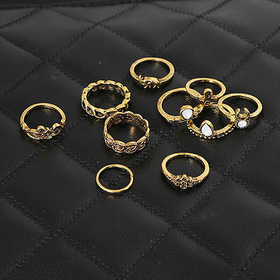 10 PCS/Set Fashion Bohemian Vintage Alloy Ring Knot Ring Joint Rings Set Jewelry