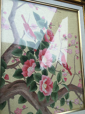 Framed Needlepoint Floral Peice