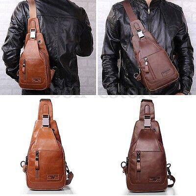 Men Genuine Leather Shoulder Bag Vintage Chest Bags Travel Crossbody Bags Brown
