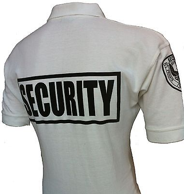 Security Polo Shirt Deluxe New 100% Cotton White With Black Letters
