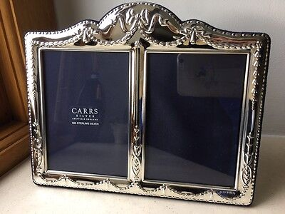 Carrs of Sheffield 925 Solid Silver DOUBLE photo picture frame, 5 x 3.5 two pics