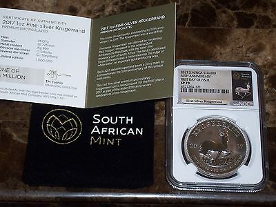 2017 Silver Krugerrand 1 Ounce Silver NGC SP70 FIRST DAY ISSUE - White