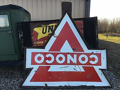 OriGiNaL VinTaGE CONOCO DSP Sign PORCELAIN Gas Oil in POLE Frame Old Station