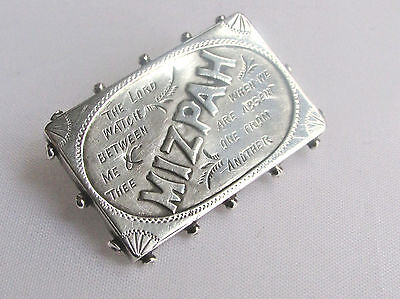Old antique Victorian sterling silver Mizpah brooch Chester 1892