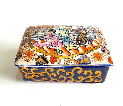 Vintage Chinese Imari Ceramic Lidded Trinket Box Hand Painted Floral Social Gold