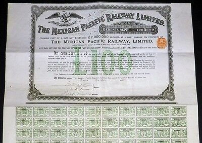 1889 The Mexican Pacific Railway Limited - with coupons 6-100