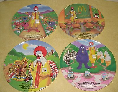 McDonalds 1989 Vintage SET OF 4  RONALD MCDONALD Plates