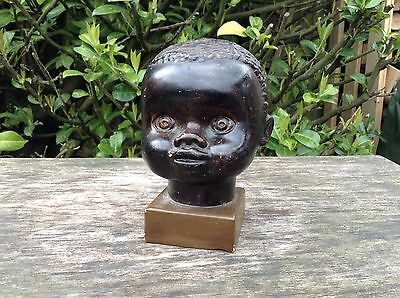 """Beautiful Vintage Plaster Bust Of An Afro Caribbean Child 5.75"""" Tall"""