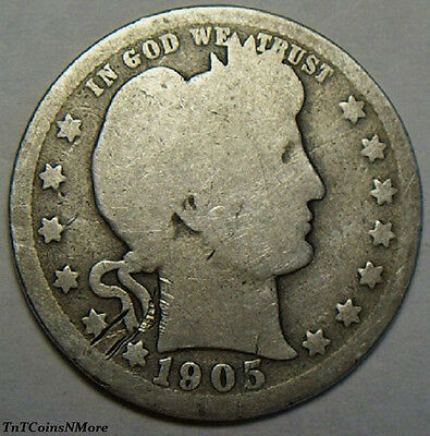 1905 Barber Quarter - Ungraded - Nice Coin - Free Shipping !!