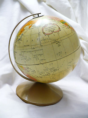 "Vintage ""The Revere"" 6"" Globe by Replogle - Desk Top Metal (tin?)"