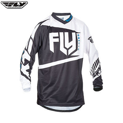 Fly 2017 F-16 MX Motocross Motorcycle Youth Mesh Soft Jersey - Black/White