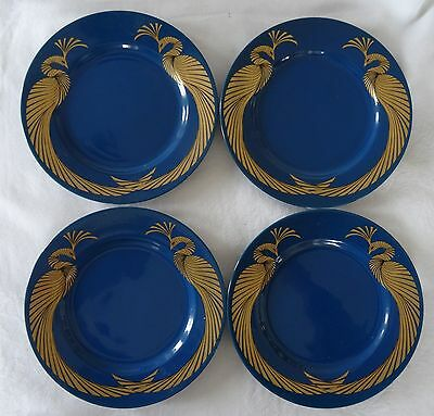 Fitz & Floyd PHOENIX D'OR gold on blue Lot of 4 Salad or Dessert Plates