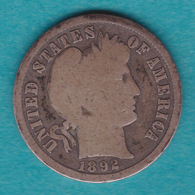1892-S G+ KEY DATE Silver Barber Dime