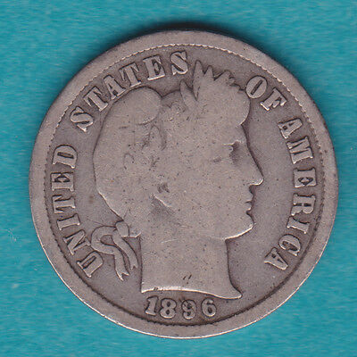 1896-S G-VG KEY DATE Silver Barber Dime PQ for the grade.