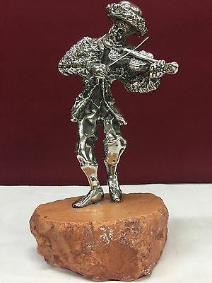 Sterling Silver Figure Of A Musician On A Stone Base