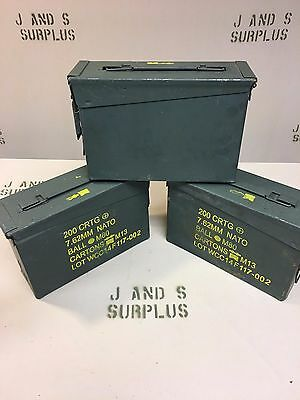 LOT of 3 USGI Military .30 cal 7.62 M19A1 Ammo Can Storage Grade B GOOD