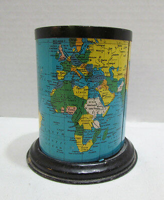 Map Of The World On Vintage Tin Litho Pencil Holder Cylinder Made In Japan Neat!