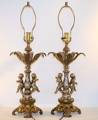 Pair of Vintage Brass Silver Iron Ornate Cherub Table Lamp