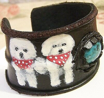 hand painted Bichon Frise genuine leather Rhinestone flower bracelet adjustabl